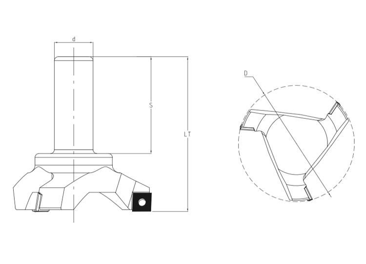Fresa pantografo c/coltelli pcd per spianare.