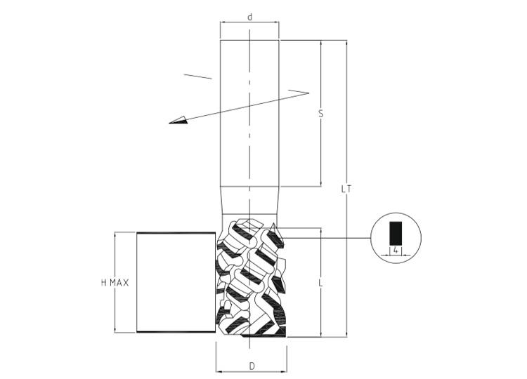Fresa pantografo in dia multitaglienti z2 assialità 54°.