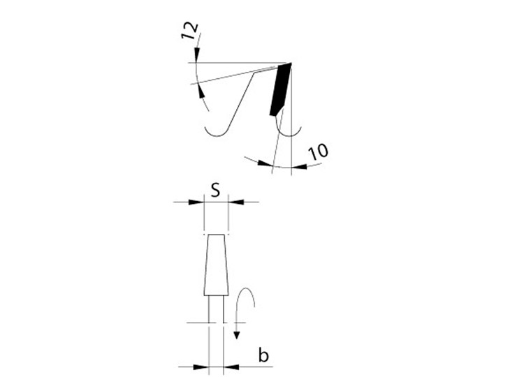 Lama incisore conico per sezionatrici